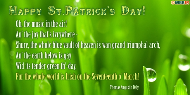 The whole world is Irish on the Seventeenth o' March