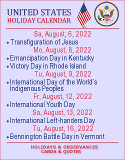 United States Holiday calendar. Greeting Cards, quotes and wishes.
