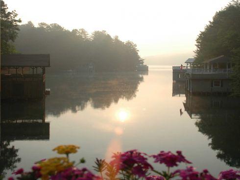 Утро рассвет над рекой закаты и