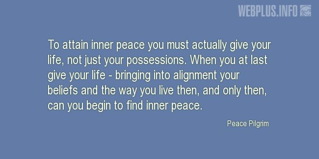 Quotes and pictures for Inner peace. «Inner peace» quotation with photo.