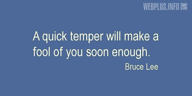 Quotes and pictures for A fool. «Quick temper» quotation with photo.