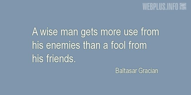 Quotes and pictures for Wise and fool. «Use from enemies» quotation with photo.