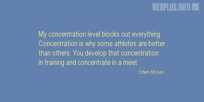 Quotes and pictures for Training. «Concentration level» quotation with photo.