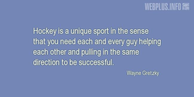 Quotes and pictures for Hockey. «A unique sport» quotation with photo.