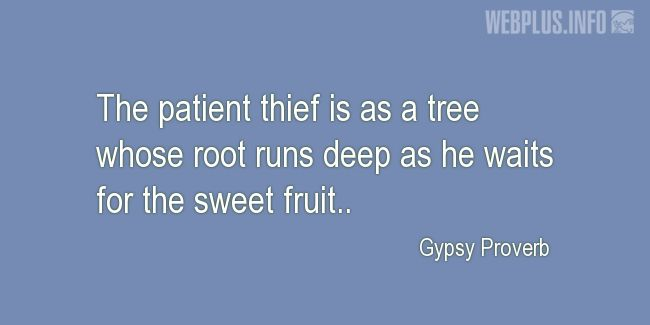 Quotes and pictures for Gypsy Proverbs and sayings. «Patient thief» quotation with photo.