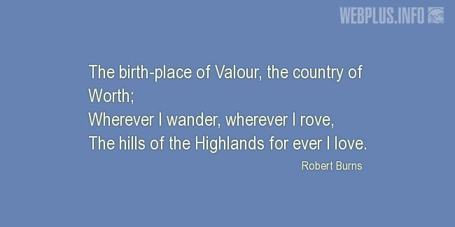 Quotes and pictures for Tartan. «The hills of the Highlands for ever I love» quotation with photo.