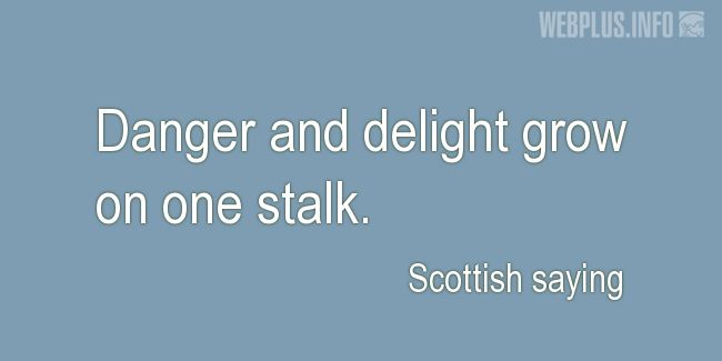 Quotes and pictures for Scottish proverbs and sayings. «Danger and delight» quotation with photo.