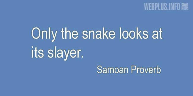 Quotes and pictures for Samoan Proverbs. «Only the snake» quotation with photo.
