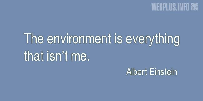 Quotes and pictures for Environment. «Everything that isn't me» quotation with photo.