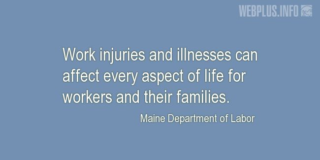Quotes and pictures for Safety and Health at Work. «Every aspect of life» quotation with photo.