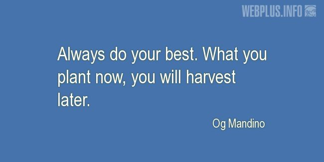 Quotes and pictures for Harvest. «Always do your best» quotation with photo.