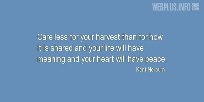 Quotes and pictures for Harvest. «Care less for your harvest» quotation with photo.