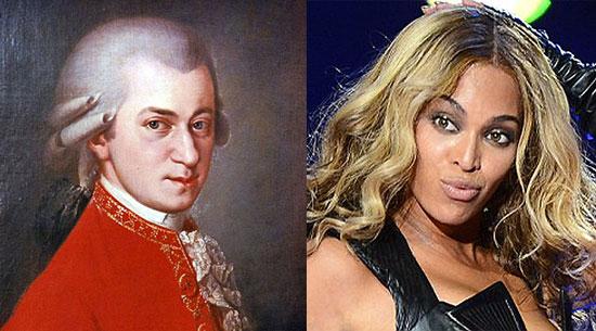 Моцарт (слева) и Бейонсе (справа)