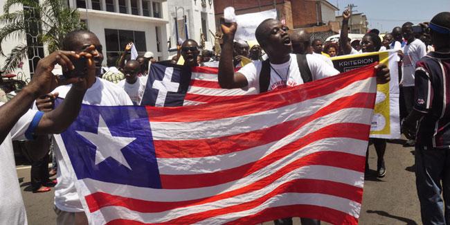 Республика Либерия, ранее американская колония, объявила о своей независимости в 1847 году