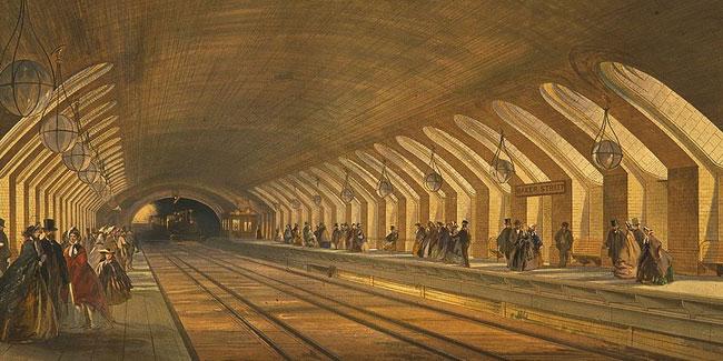 1863 год. Эскиз. Первый приближающихся поезд. Ветка метро, на Бейкер-стрит